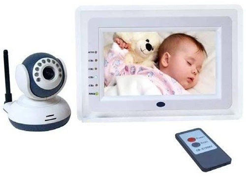 7 inch lcd screen wireless baby monitor camera system with audio detection. Black Bedroom Furniture Sets. Home Design Ideas
