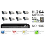 420TVL 8 ch Channel CCTV Camera DVR Security System Kit Inc Outdoor Indoor Bullet Camera and H.264 DVR with Mobile and Network Access NO Hard Drive