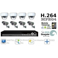 Combo 600TVL 8 ch channel CCTV Camera DVR Security System Kit Inc H.264 Network Mobile Access DVR and All-Weather 4-9mm IR 3-Axis Bracket Camera 500GB HDD