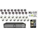 High definition 32 Camera CCTV Kit 600TVL Varifocal Vandal Proof All-weather IR 30M Cameras accessed by Mobile and Internet