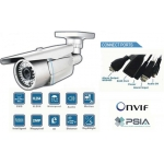 Varifocal High Definition Waterproof IP network bullet camera 40 IR Distance PoE Onvif conformant and IR CUT White Color